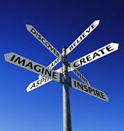 Discover, Create, Imagine street signs